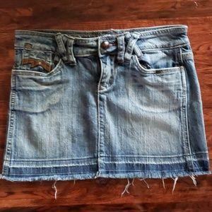 Dollhouse Blue Jean Mini Skirt Distressed Clothes